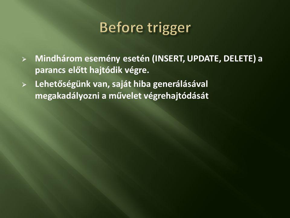 Before trigger Mindhárom esemény esetén (INSERT, UPDATE, DELETE) a parancs előtt hajtódik végre.