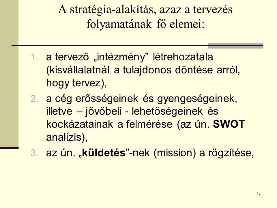 A stratégia-alakítás, azaz a tervezés folyamatának fő elemei: