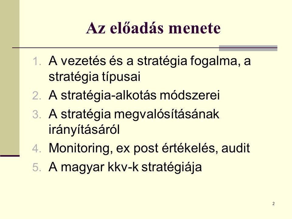 Az előadás menete A vezetés és a stratégia fogalma, a stratégia típusai. A stratégia-alkotás módszerei.