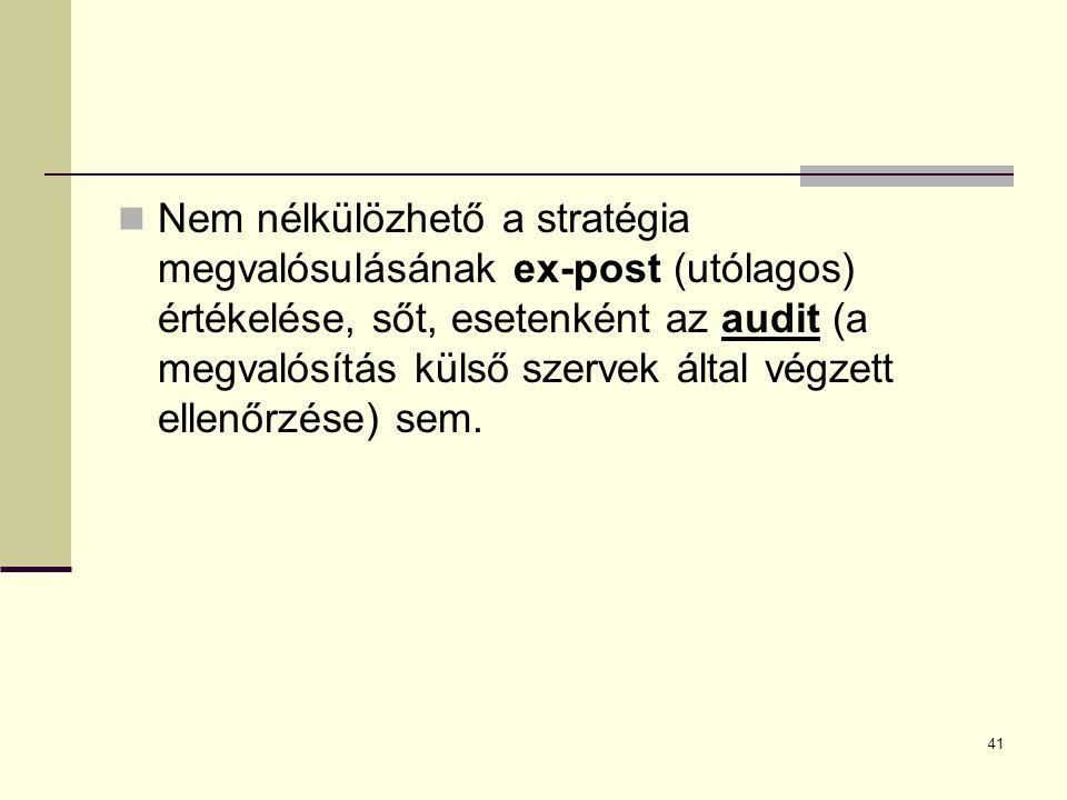 Nem nélkülözhető a stratégia megvalósulásának ex-post (utólagos) értékelése, sőt, esetenként az audit (a megvalósítás külső szervek által végzett ellenőrzése) sem.