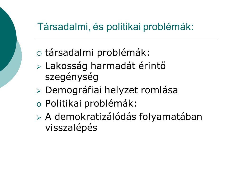 Társadalmi, és politikai problémák: