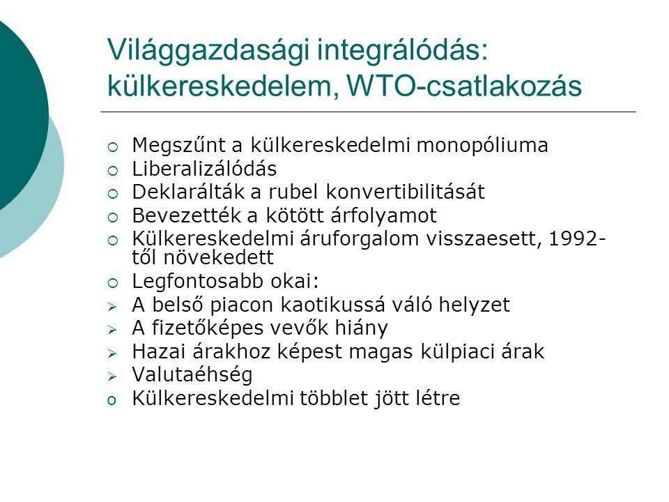 Világgazdasági integrálódás: külkereskedelem, WTO-csatlakozás