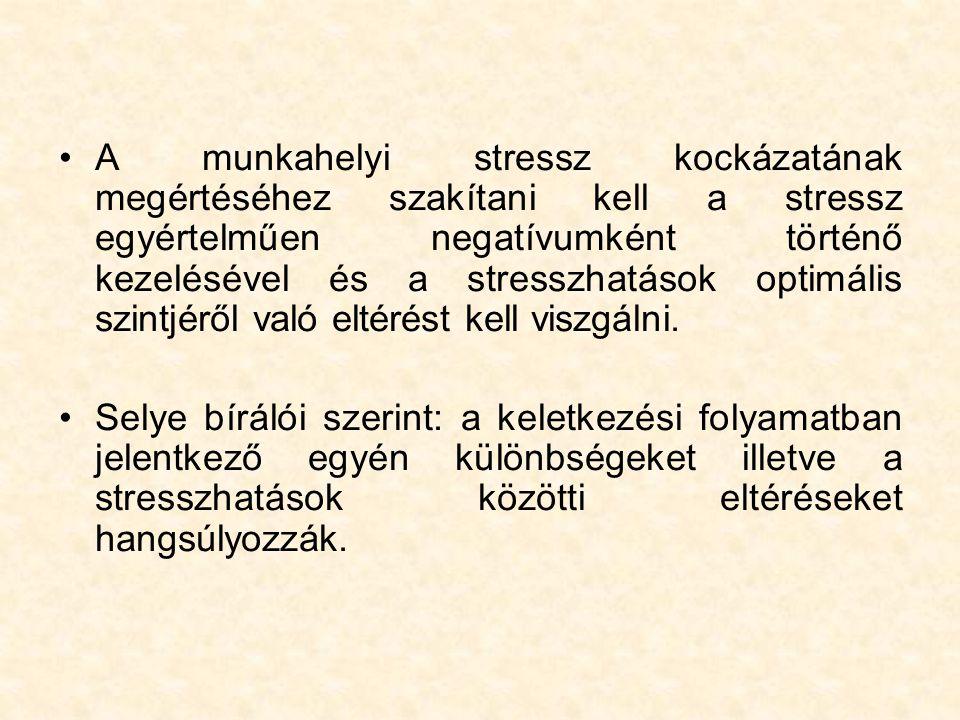 A munkahelyi stressz kockázatának megértéséhez szakítani kell a stressz egyértelműen negatívumként történő kezelésével és a stresszhatások optimális szintjéről való eltérést kell viszgálni.