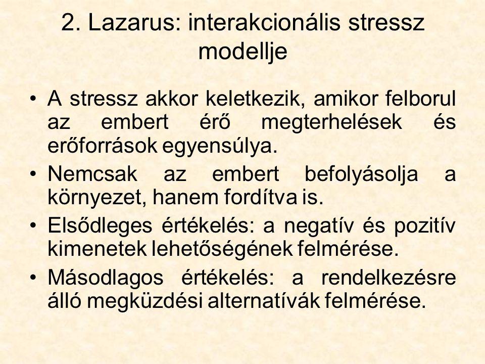 2. Lazarus: interakcionális stressz modellje