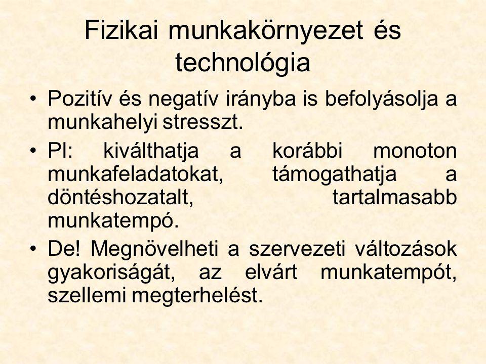 Fizikai munkakörnyezet és technológia
