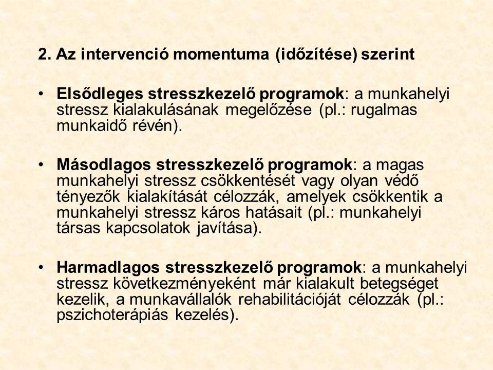 2. Az intervenció momentuma (időzítése) szerint