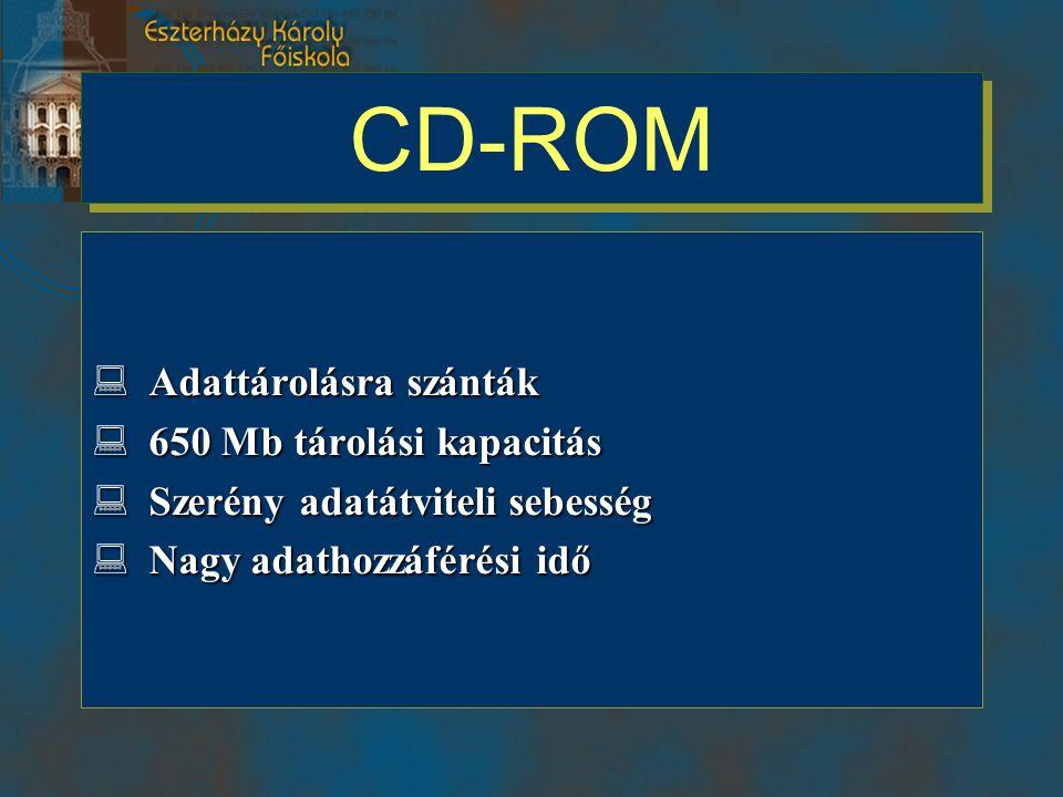 CD-ROM Adattárolásra szánták 650 Mb tárolási kapacitás