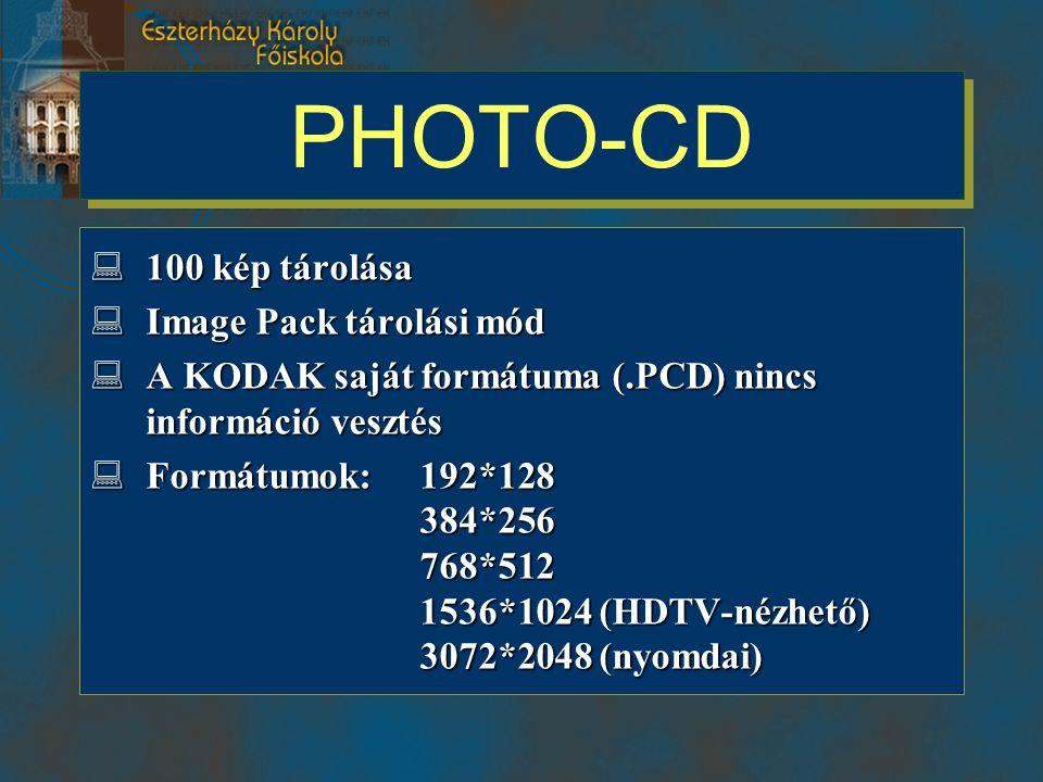 PHOTO-CD 100 kép tárolása Image Pack tárolási mód
