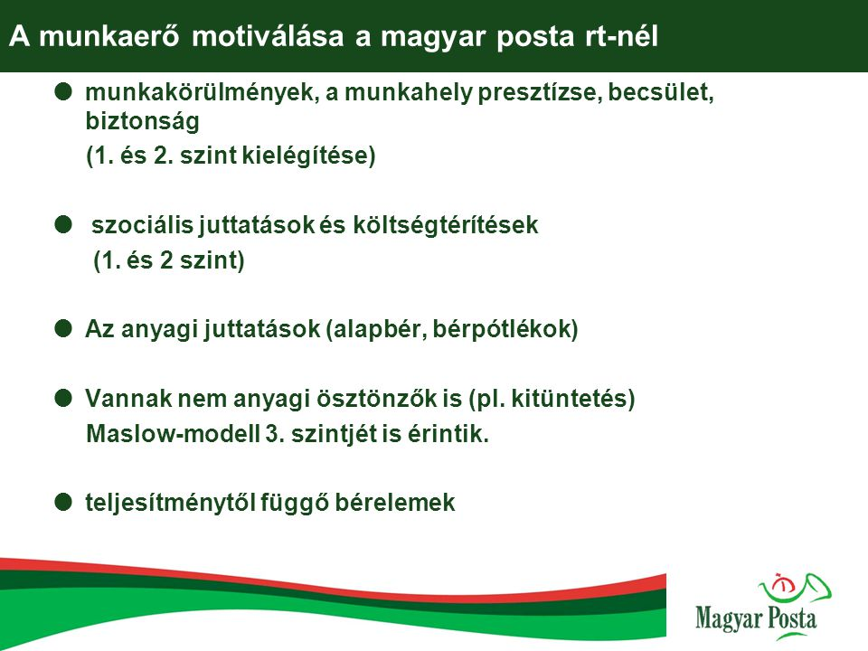 A munkaerő motiválása a magyar posta rt-nél
