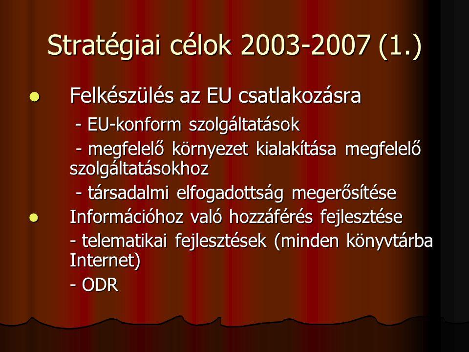 Stratégiai célok 2003-2007 (1.) Felkészülés az EU csatlakozásra