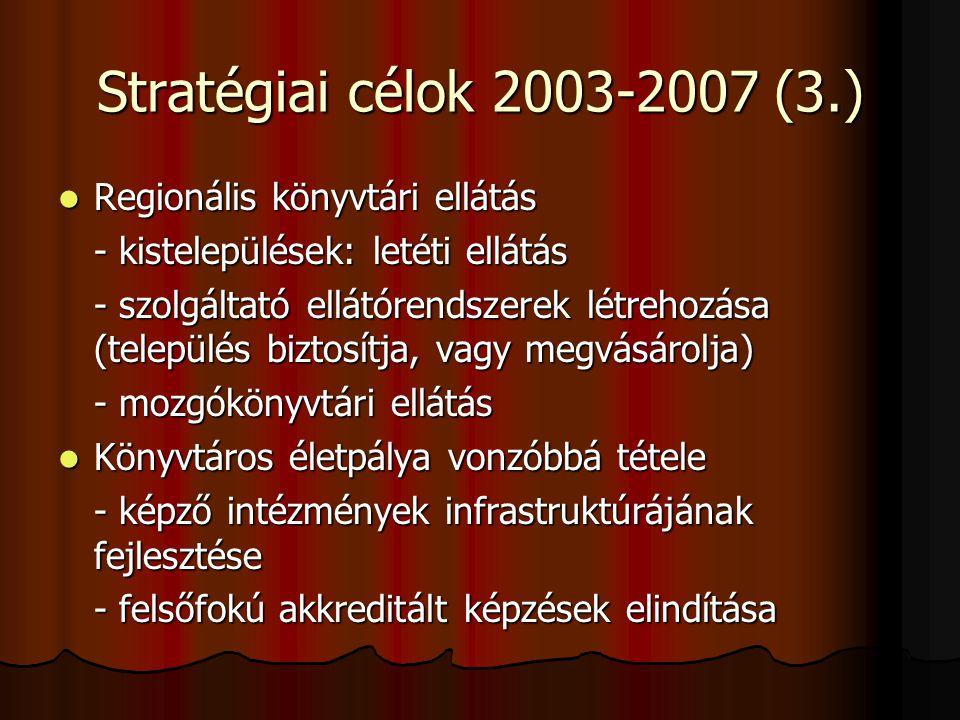 Stratégiai célok 2003-2007 (3.) Regionális könyvtári ellátás
