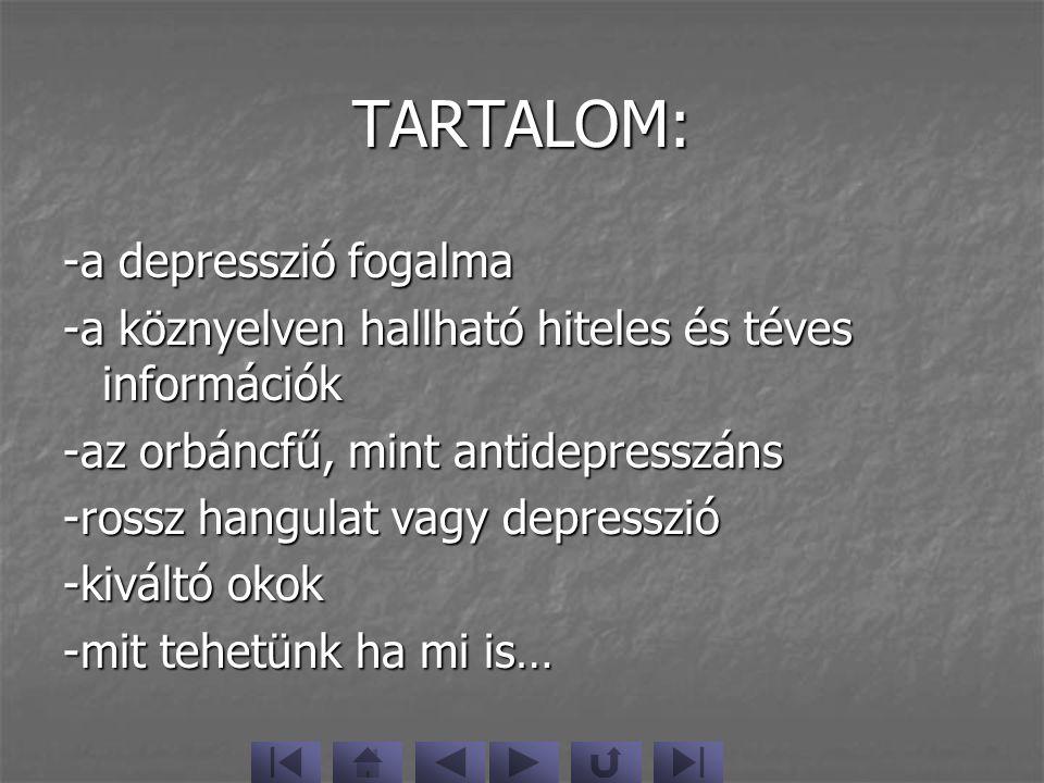 TARTALOM: -a depresszió fogalma