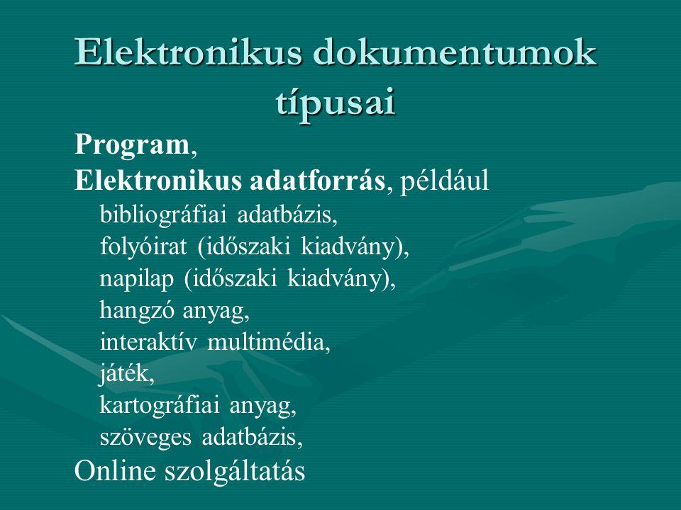 Elektronikus dokumentumok típusai
