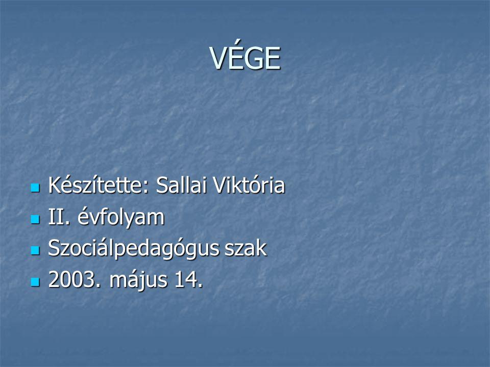 VÉGE Készítette: Sallai Viktória II. évfolyam Szociálpedagógus szak