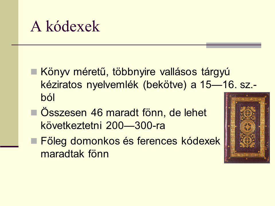A kódexek Könyv méretű, többnyire vallásos tárgyú kéziratos nyelvemlék (bekötve) a 15—16. sz.-ból.