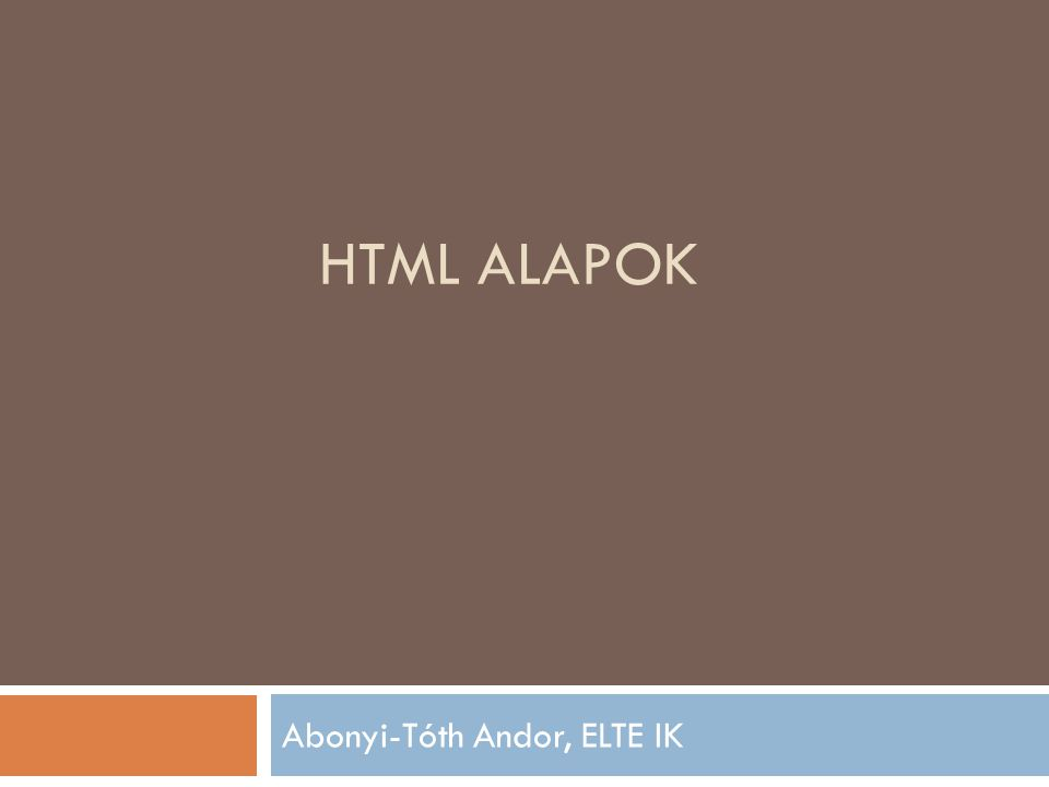 Abonyi-Tóth Andor, ELTE IK