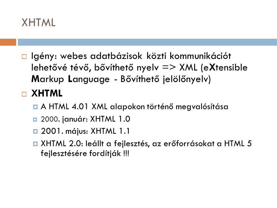XHTML Igény: webes adatbázisok közti kommunikációt lehetővé tévő, bővíthető nyelv => XML (eXtensible Markup Language - Bővíthető jelölőnyelv)