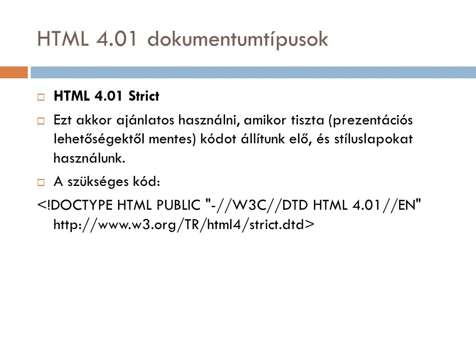 HTML 4.01 dokumentumtípusok