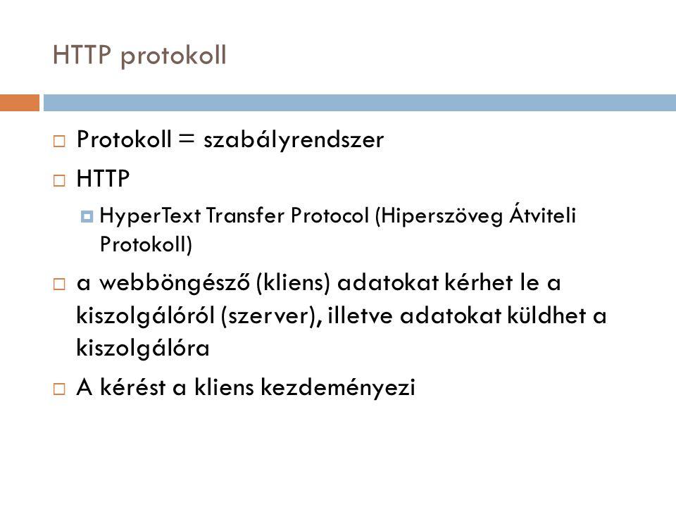 HTTP protokoll Protokoll = szabályrendszer HTTP