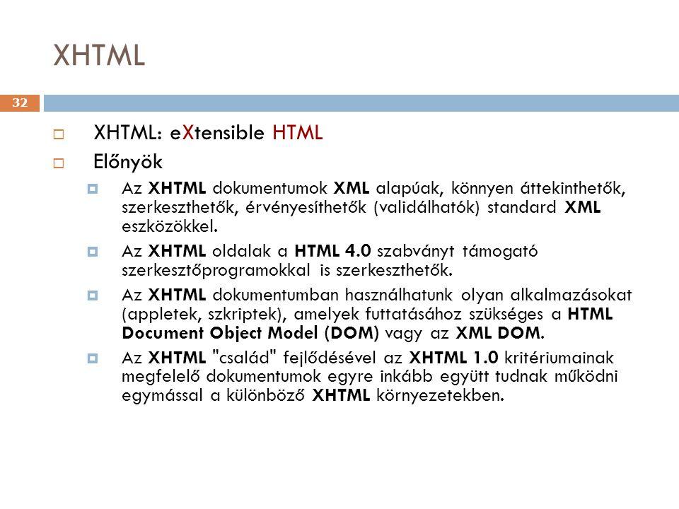 XHTML XHTML: eXtensible HTML Előnyök
