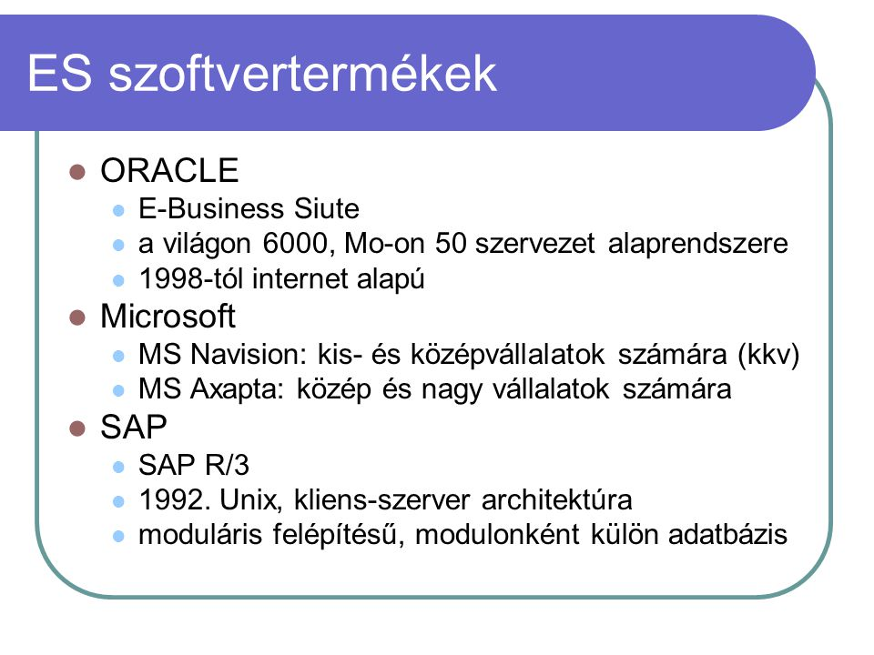 ES szoftvertermékek ORACLE Microsoft SAP E-Business Siute