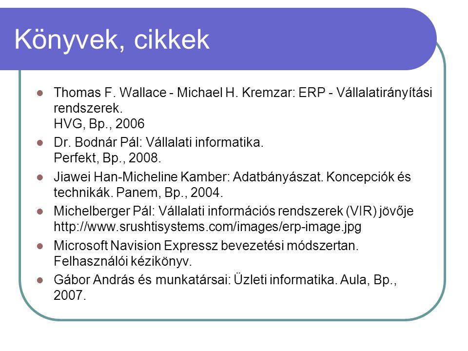 Könyvek, cikkek Thomas F. Wallace - Michael H. Kremzar: ERP - Vállalatirányítási rendszerek. HVG, Bp., 2006.