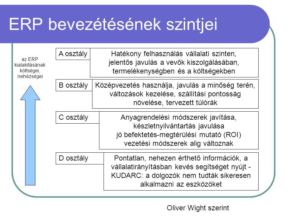ERP bevezétésének szintjei