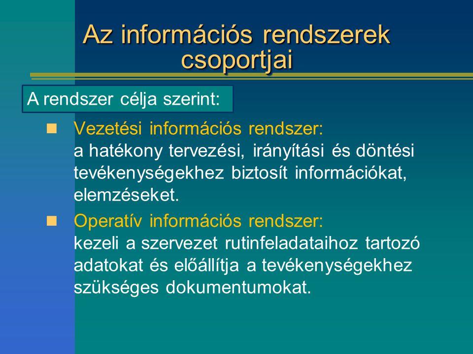 Az információs rendszerek csoportjai