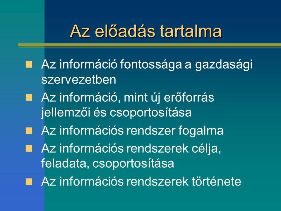 Az előadás tartalma Az információ fontossága a gazdasági szervezetben