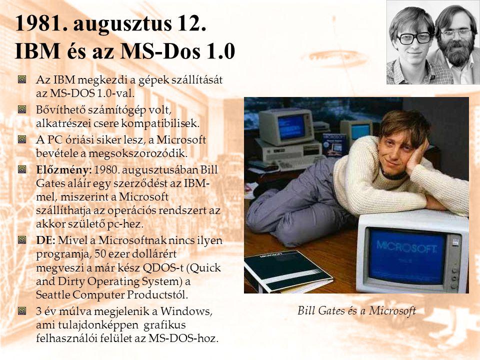 1981. augusztus 12. IBM és az MS-Dos 1.0