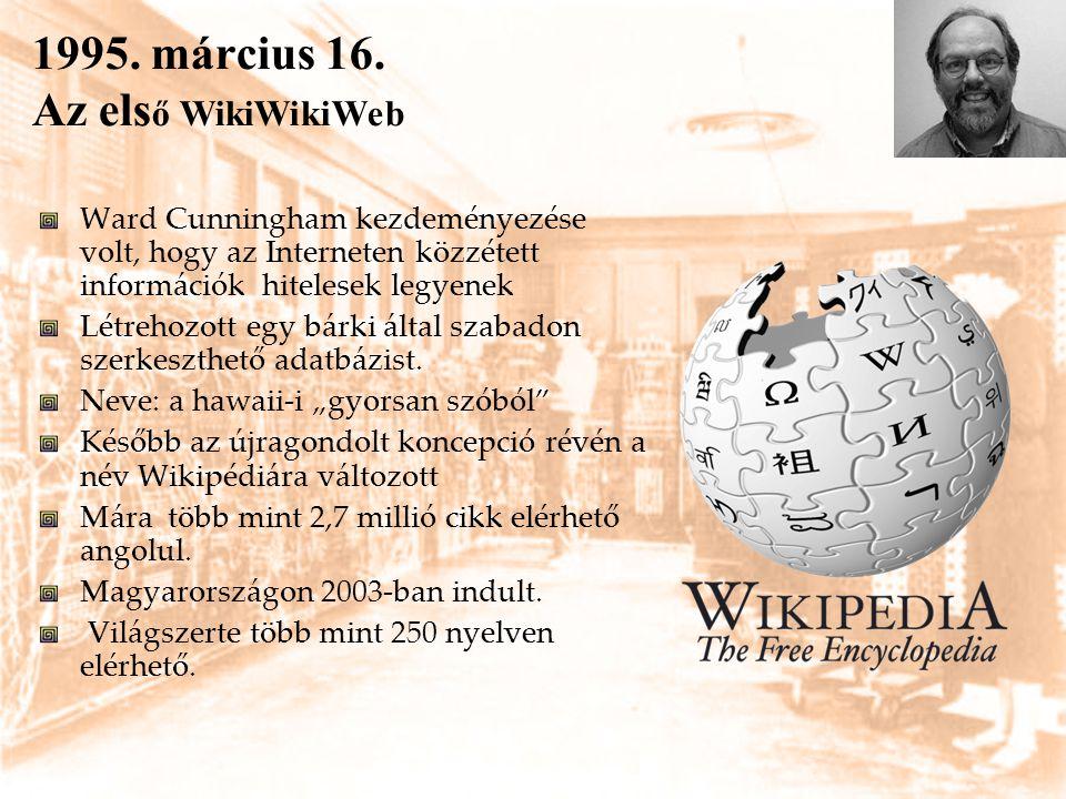 1995. március 16. Az első WikiWikiWeb