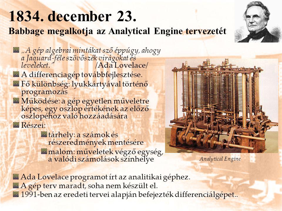 1834. december 23. Babbage megalkotja az Analytical Engine tervezetét