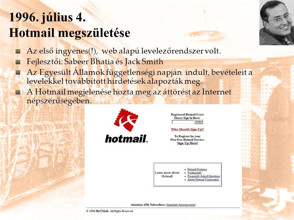 1996. július 4. Hotmail megszületése