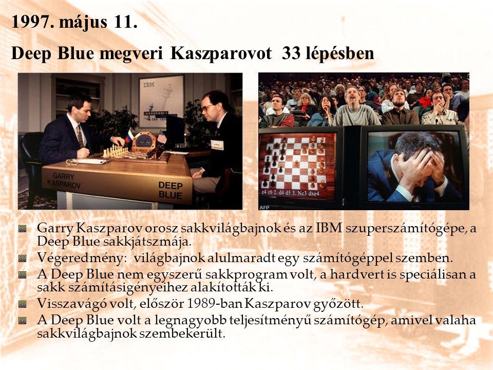 1997. május 11. Deep Blue megveri Kaszparovot 33 lépésben