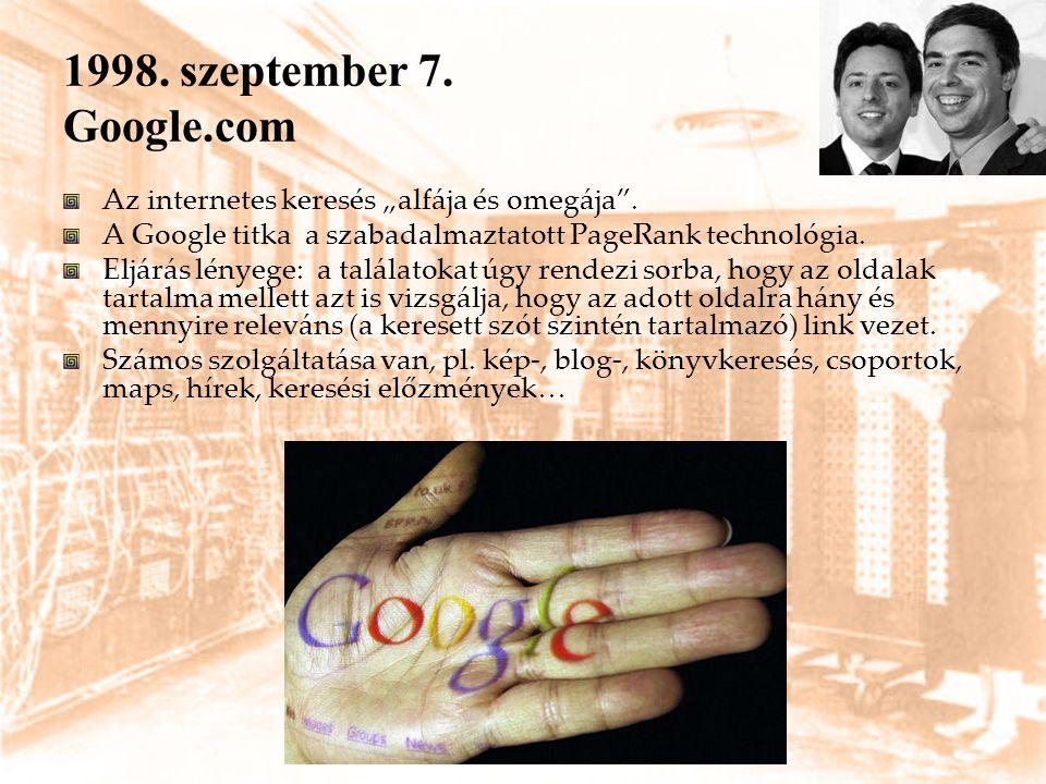 """1998. szeptember 7. Google.com Az internetes keresés """"alfája és omegája . A Google titka a szabadalmaztatott PageRank technológia."""