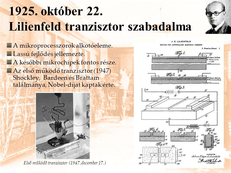 1925. október 22. Lilienfeld tranzisztor szabadalma