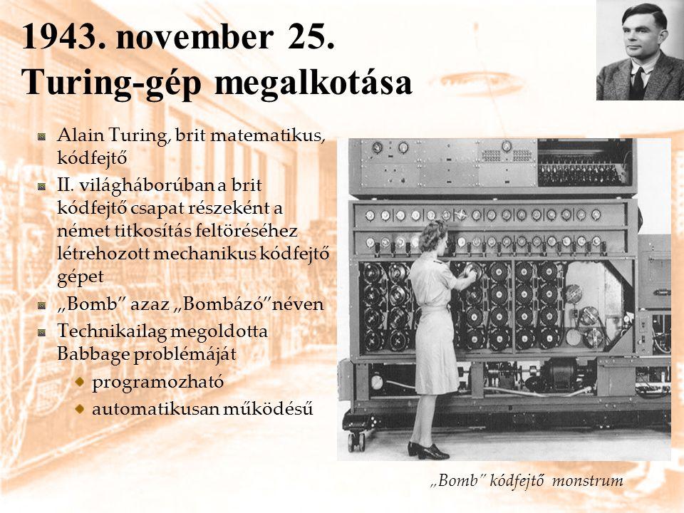 1943. november 25. Turing-gép megalkotása