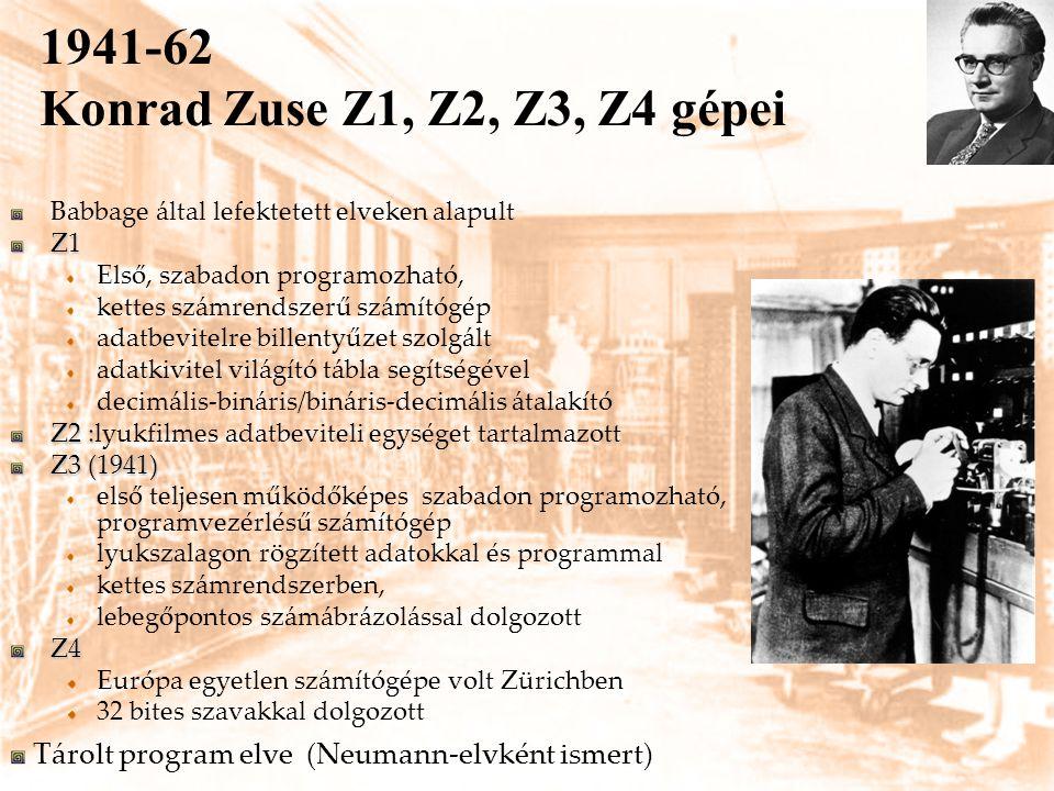 1941-62 Konrad Zuse Z1, Z2, Z3, Z4 gépei