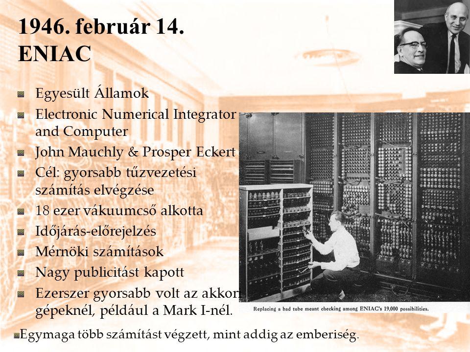 1946. február 14. ENIAC Egyesült Államok