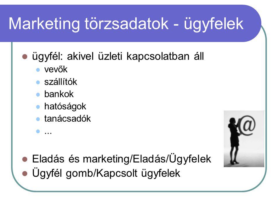 Marketing törzsadatok - ügyfelek