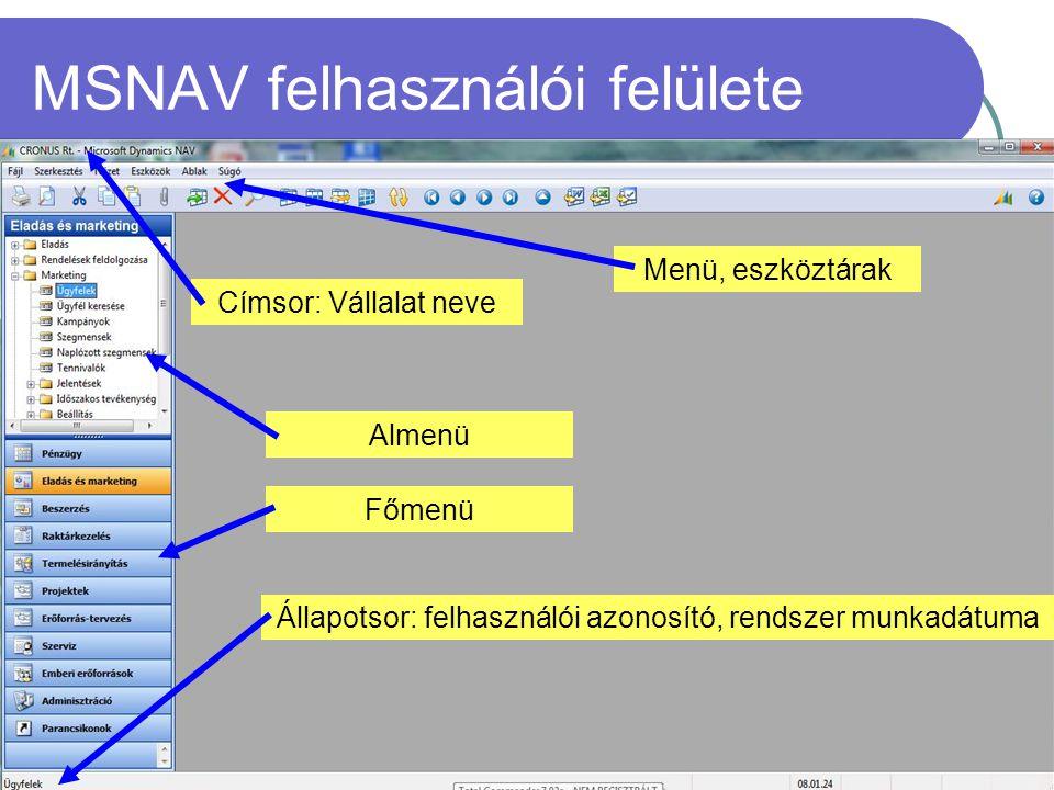 MSNAV felhasználói felülete