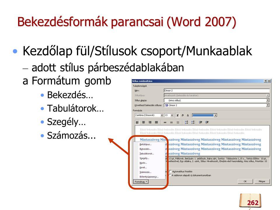 Bekezdésformák parancsai (Word 2007)