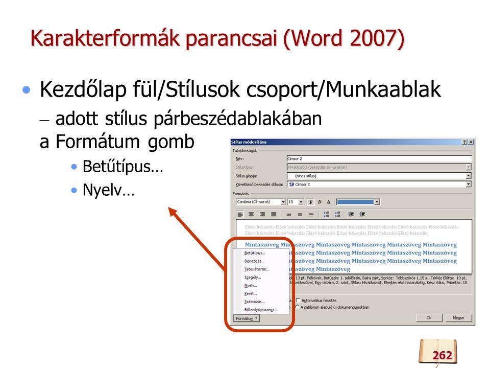 Karakterformák parancsai (Word 2007)