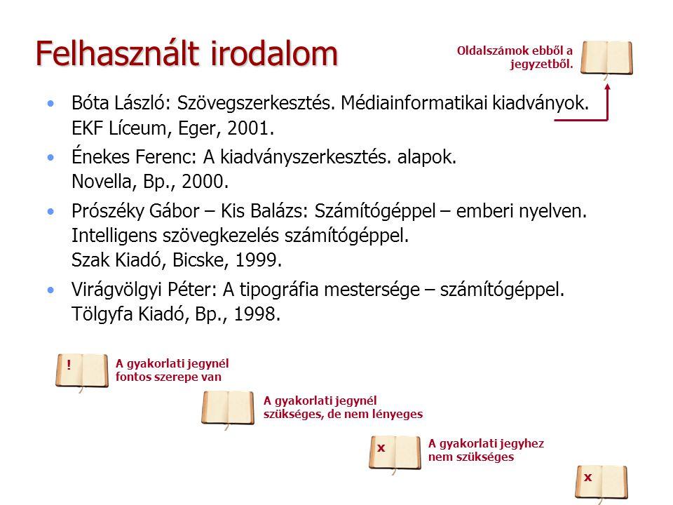 Felhasznált irodalom Oldalszámok ebből a jegyzetből. Bóta László: Szövegszerkesztés. Médiainformatikai kiadványok. EKF Líceum, Eger, 2001.