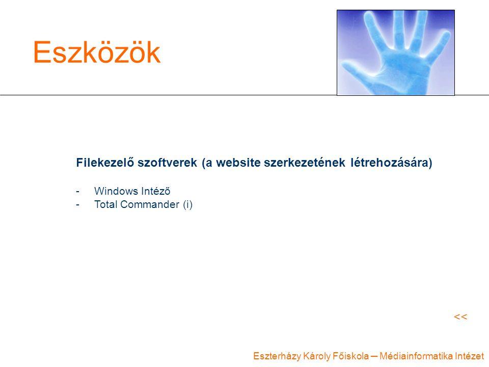 Eszközök Filekezelő szoftverek (a website szerkezetének létrehozására)