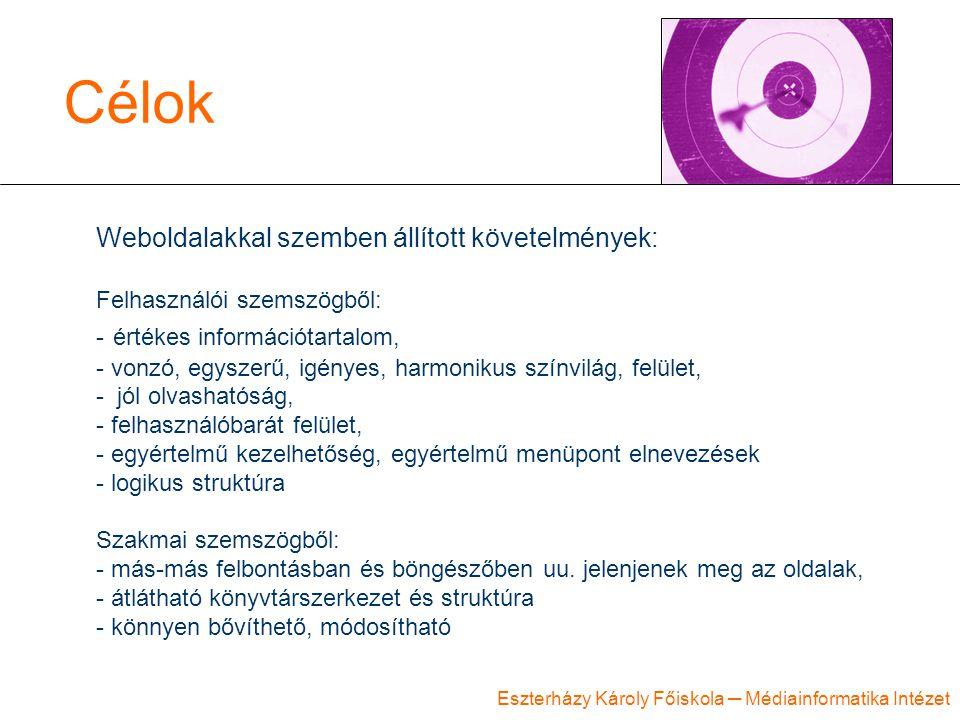 Célok Weboldalakkal szemben állított követelmények: