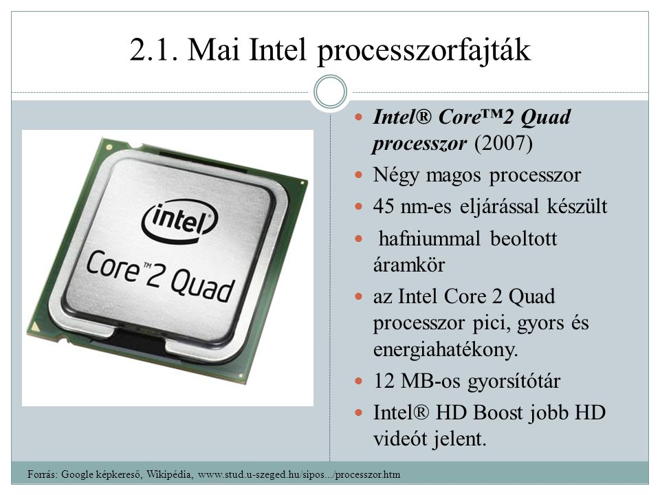 2.1. Mai Intel processzorfajták