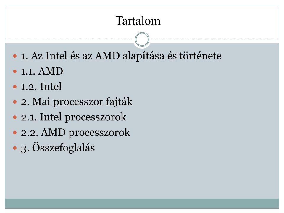 Tartalom 1. Az Intel és az AMD alapítása és története 1.1. AMD