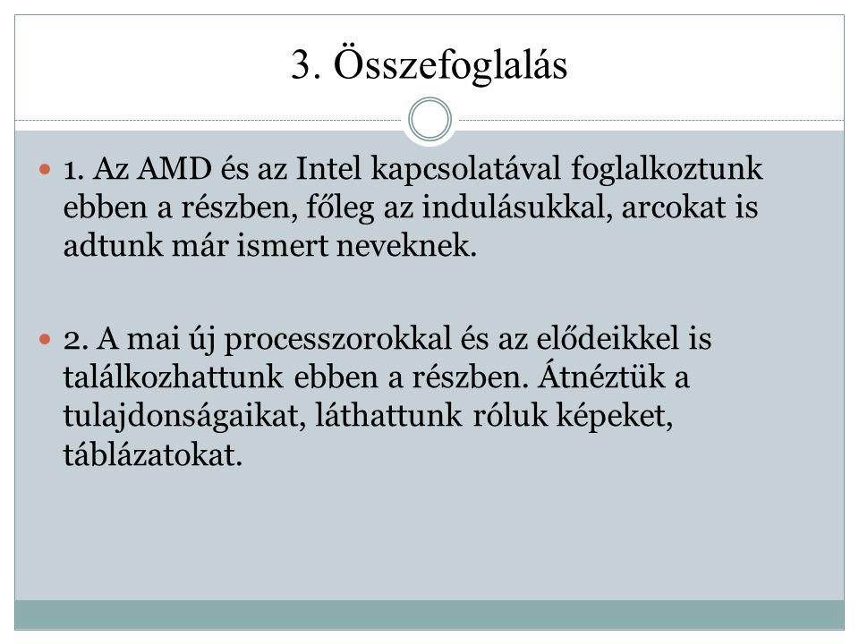 3. Összefoglalás 1. Az AMD és az Intel kapcsolatával foglalkoztunk ebben a részben, főleg az indulásukkal, arcokat is adtunk már ismert neveknek.