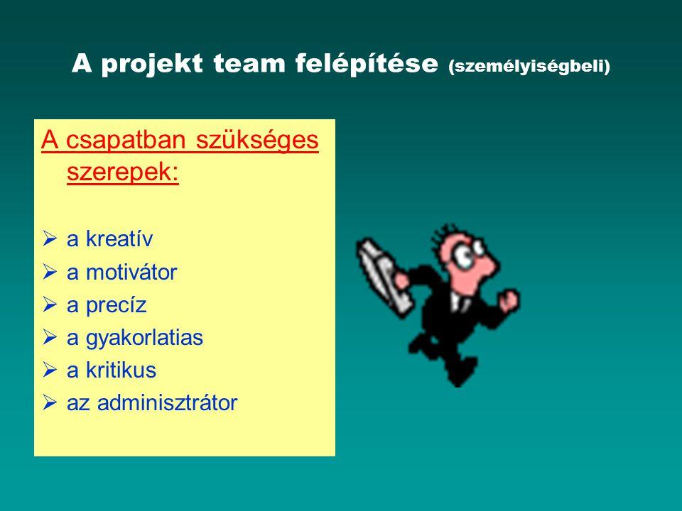 A projekt team felépítése (személyiségbeli)